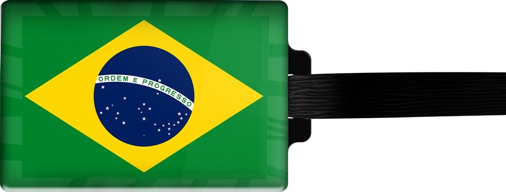 metALUm | Gepäckanhänger  verdecktes Adressfeld FLAGGE BRASILIEN 3001015