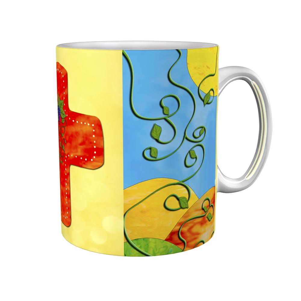 Kaffeetasse / Kaffeebecher / Kreuz / Weinstock / Kommunion