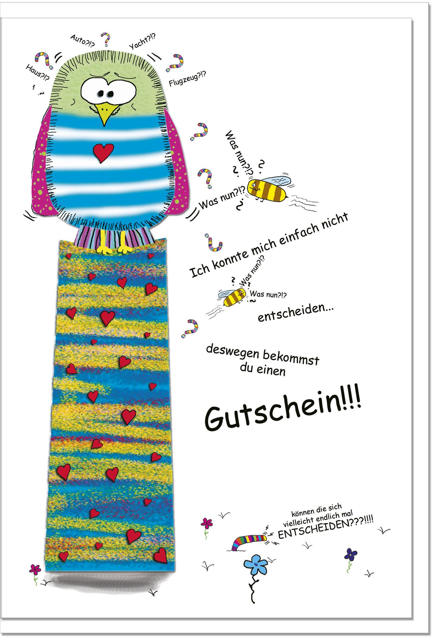 Gutscheinkarten / Grußkarten /Gutschein Vogel