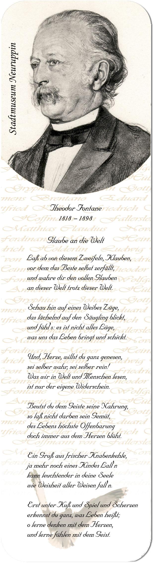 "Metall - Lesezeichen  ""Theodor Fontane"""