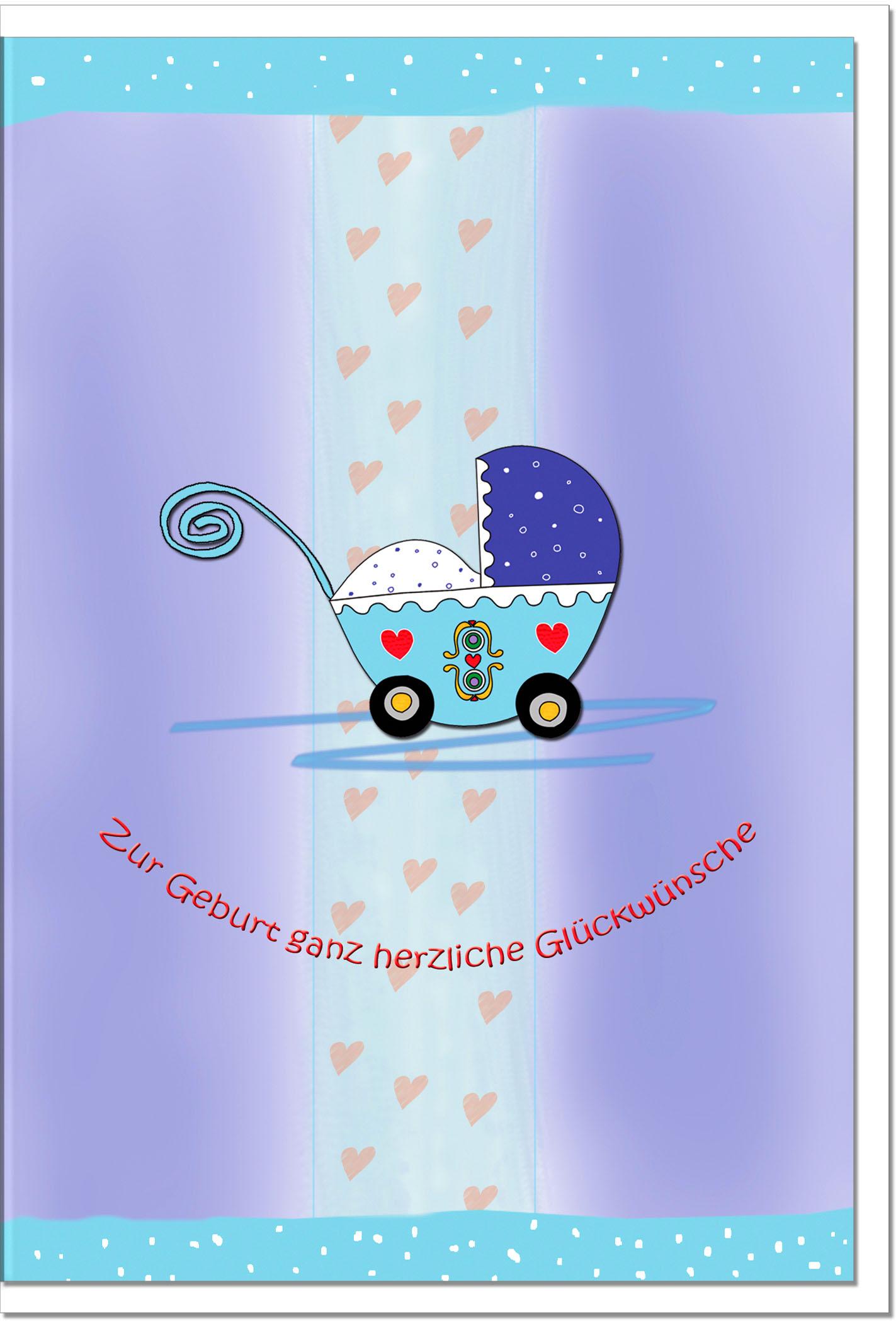 Geburtskarten / Grußkarten /Geburt Kinderwagen