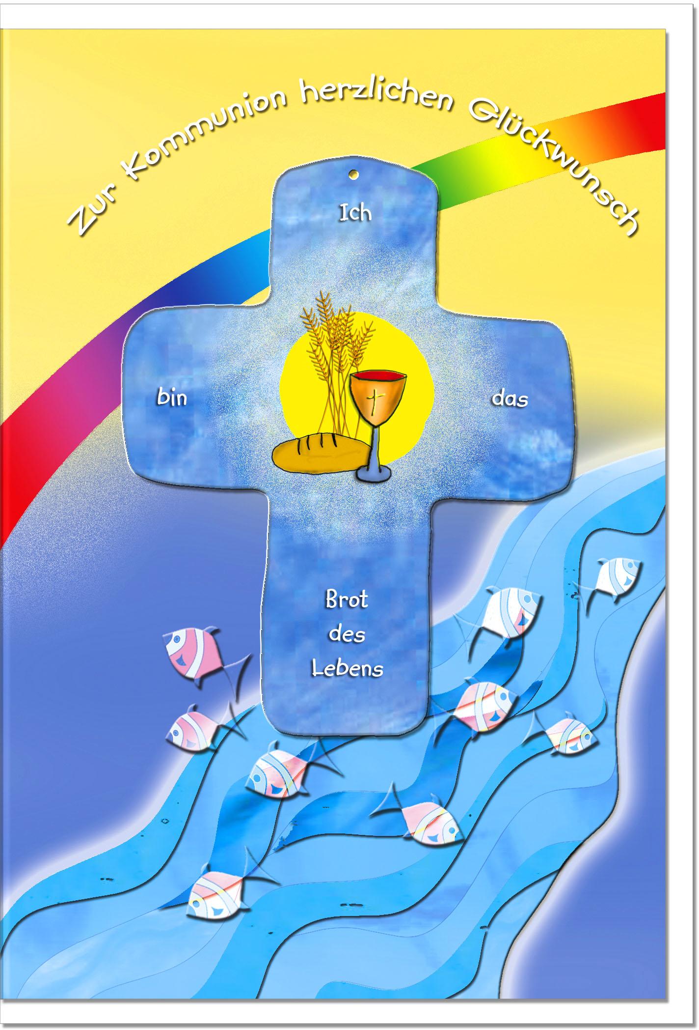Kommunionskarten / Grußkarten /Kommunion Wasserfall