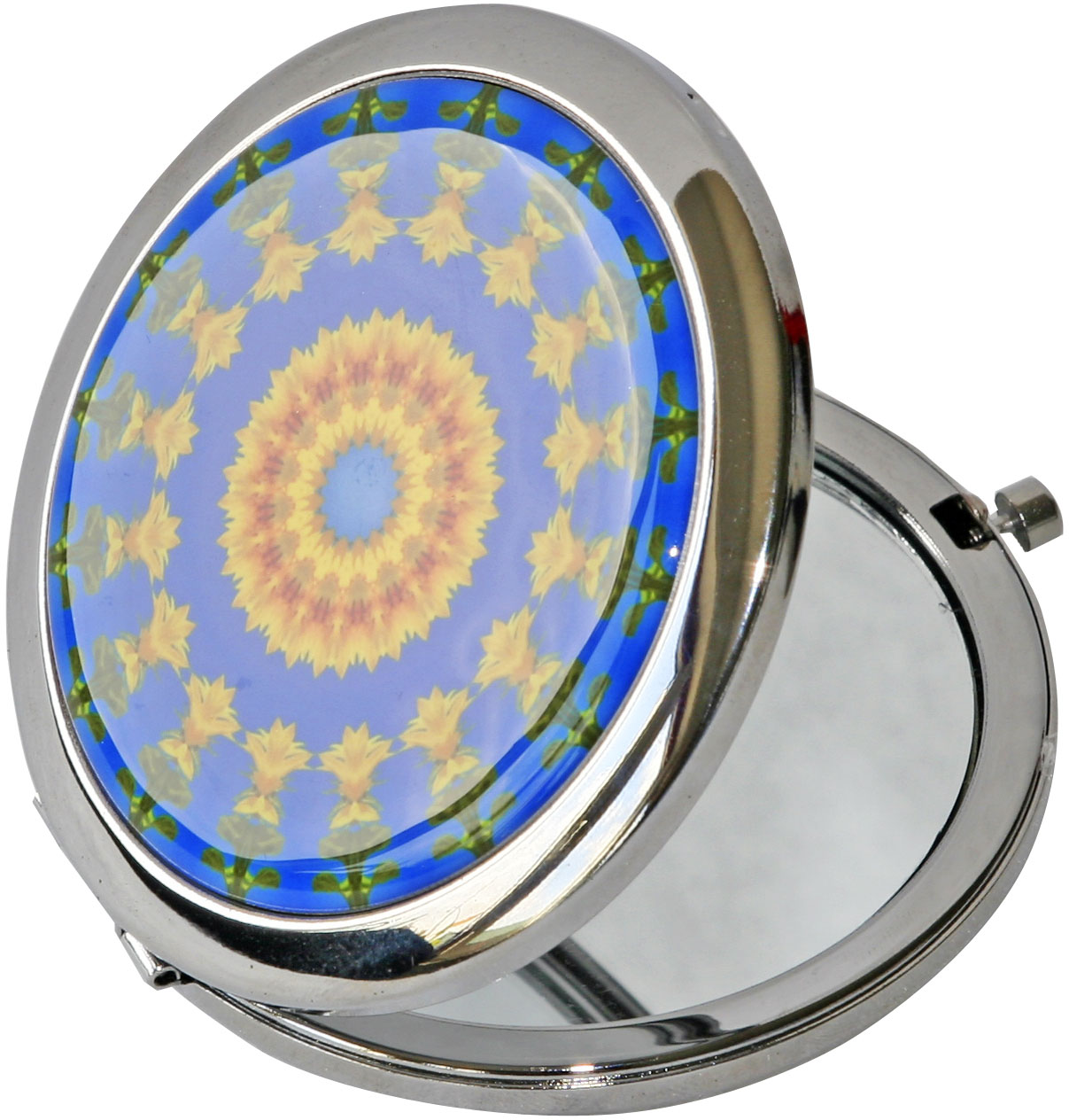 "metALUm Premium Taschenspiegel in runder Form ""Fraktal Muster"""
