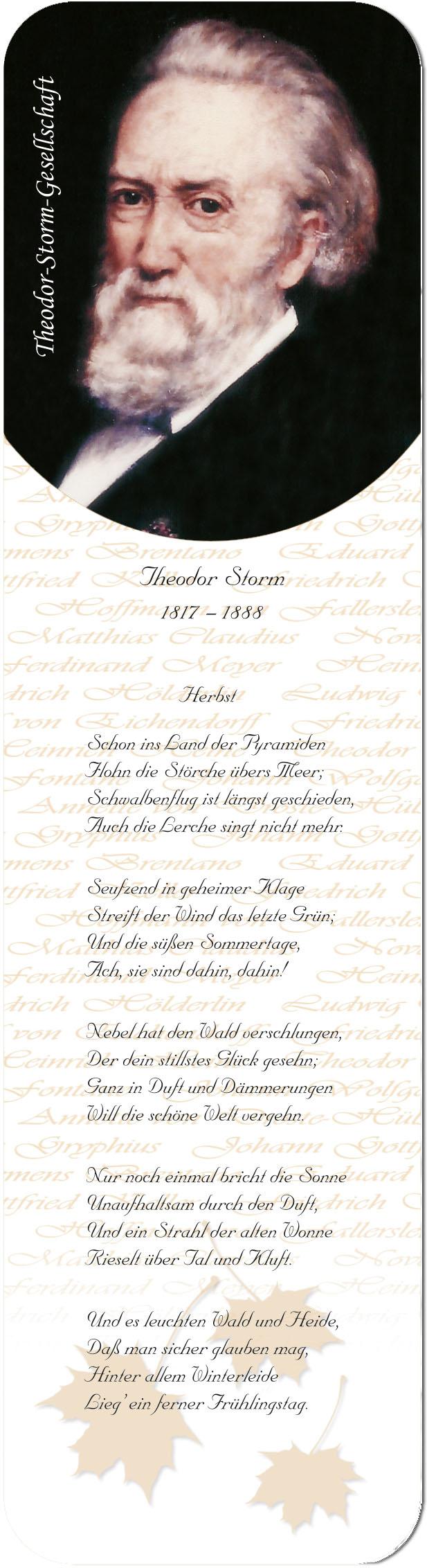 """Metall - Lesezeichen  """"Theodor Storm"""""""