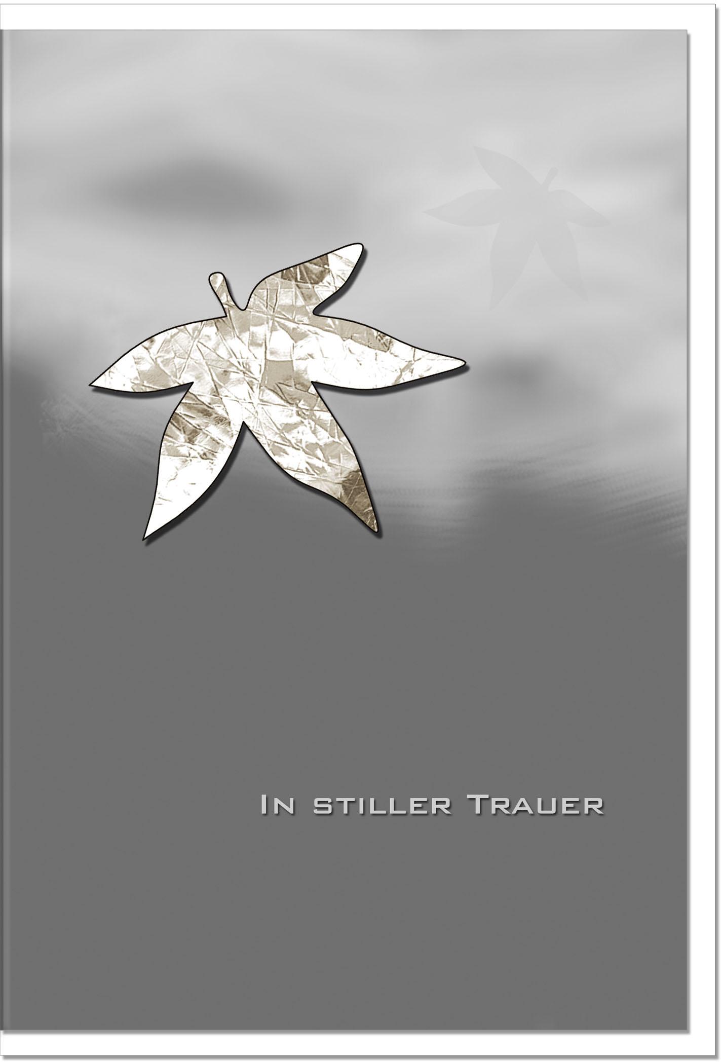 Trauerkarte Beileidskarte / Herbstblatt