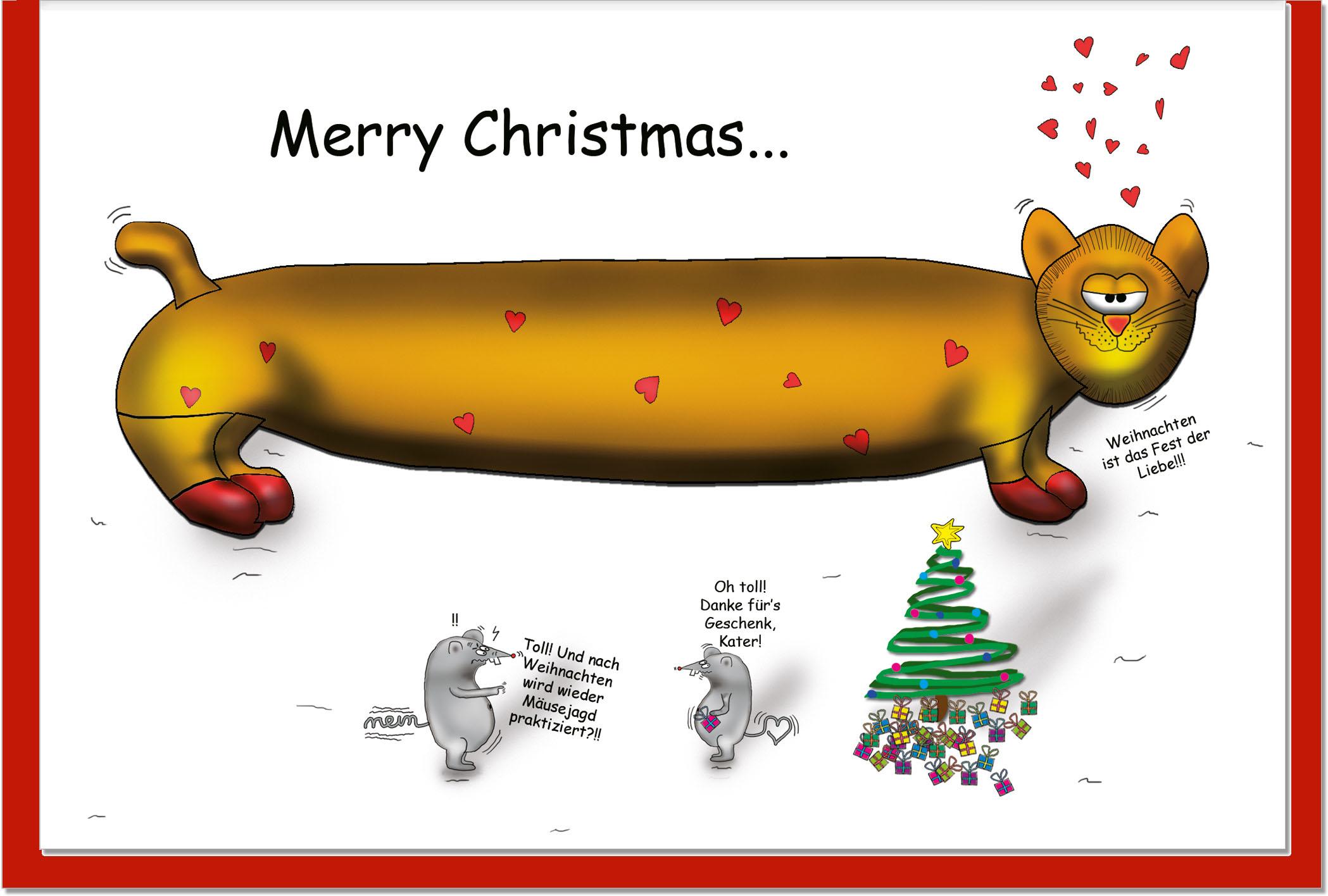 Weihnachtskarten / Grußkarten /Weihnachten Katze