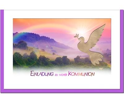 MetALUm Einladungskarten zur Kommunion (50 er Set)  Regenbogen
