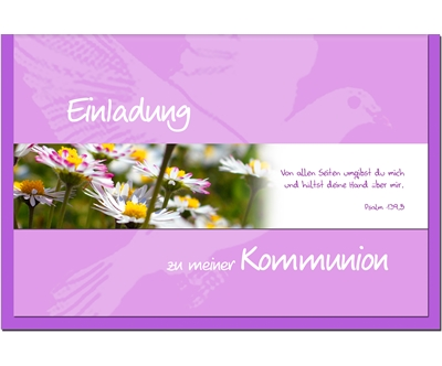 Metalum invitation CARTES DE COMMUNION marguerites
