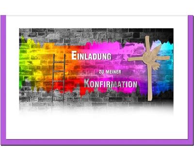 MetALUm Einladungskarten zur Konfirmation (25 er Set)  Graffiti