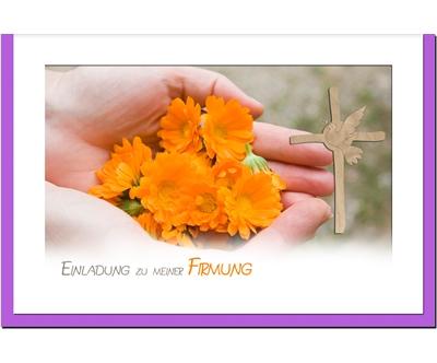 MetALUm Einladungskarten zur Firmung (50 er Set)  Blüten