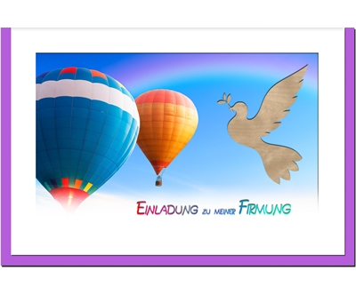 MetALUm Einladungskarten zur Firmung (50 er Set)  Heissluftballons  | Erste Klasse in seiner Klasse  | Qualitativ Hochwertiges Produkt